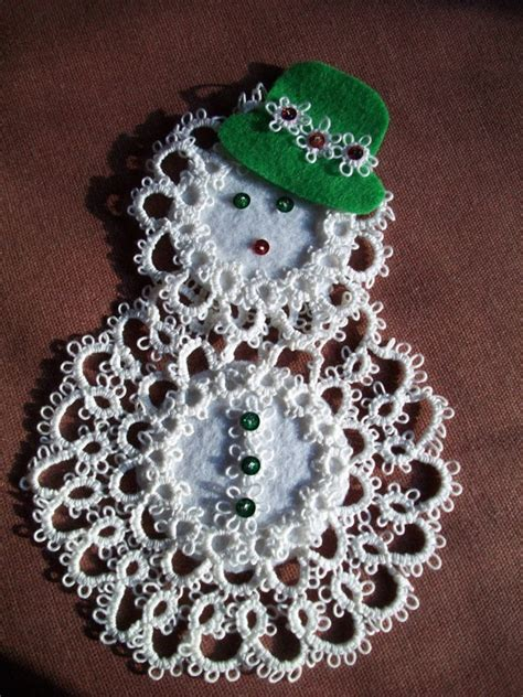 tatted snowman ornament tatting inspiration pinterest