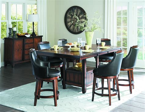 7pc Dining Table Set 7 Pc Homelgance Bayshore Counter Height Dining Set