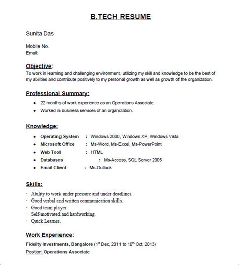 b tech resume format free 16 resume templates for freshers pdf doc free