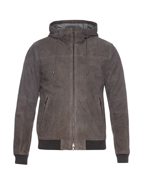 Jaket Grey vince hooded suede jacket in gray for lyst