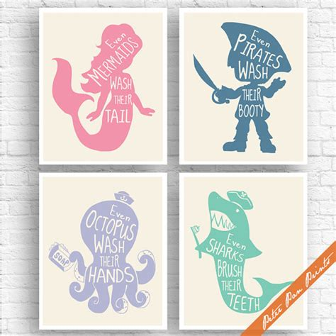 unisex childrens bathroom decor unisex kids funny bathroom a set of 4 art print unframed