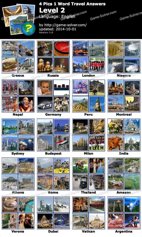 4 In 1 Travel 4 pics 1 word travel level 2 solver