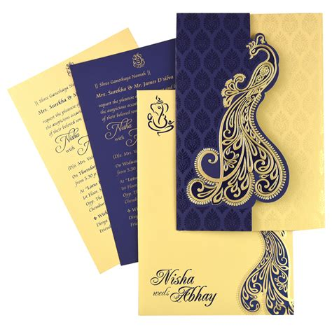 designer hindu wedding invitation cards nds53 blue color shimmery finish paper designer