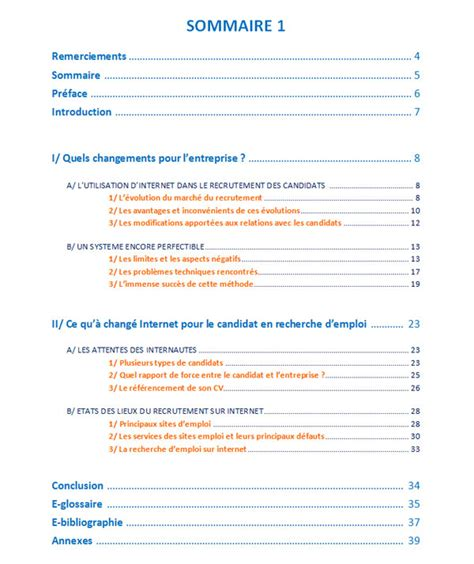 exemple sommaire rapport de stage word document