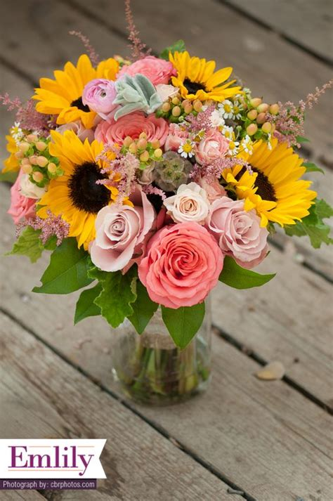 yellow and pink sunflowers flower sunflower and coral roses bridal bouquet sunflower