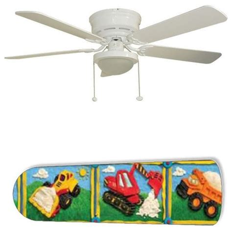 boys ceiling fans boys cartoon construction trucks 52 quot ceiling fan with l