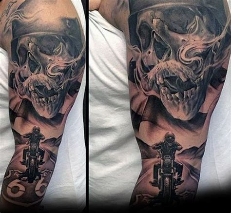 motorcycle sleeve tattoo designs harley davidson skull motorcycle rider guys