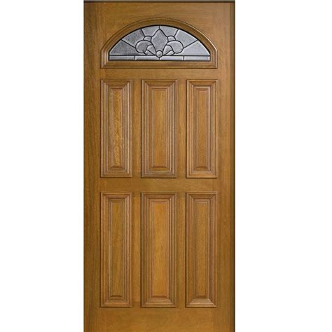 Oak Front Doors With Glass Door 36 In X 80 In Mahogany Type Fan Lite Glass Prefinished Golden Oak Beveled Patina