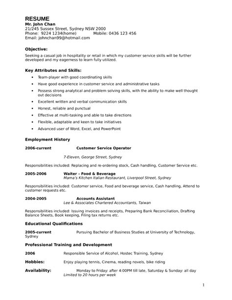 Resume Sles For Entry Level Customer Service Entry Level Freshers Customer Service Associate Resume Template