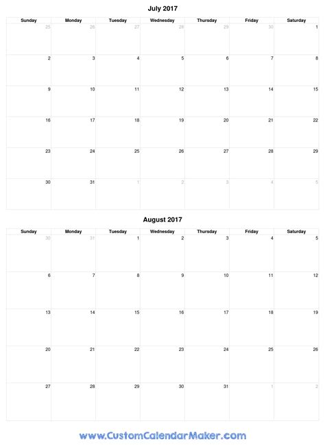 printable calendar july august 2017 july 2017 printable calendars pick a template and print