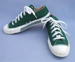 vintage 60s pro keds sneakers tennis shoes green stripes 8