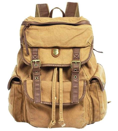 Rugged Leather Bag High Quality Brown Fabric Canvas Backpack Serbags
