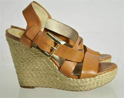 Mk B698 7 Wedges Shoes michael michael kors brown buckle up wedges shoes size 7m