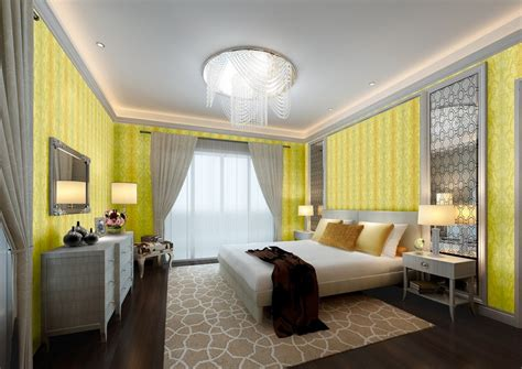 bedroom light yellow walls and gray cabinet 3d