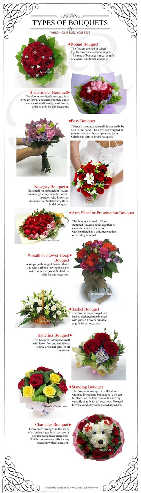 a florist is advertising five types of bouquets 25 best
