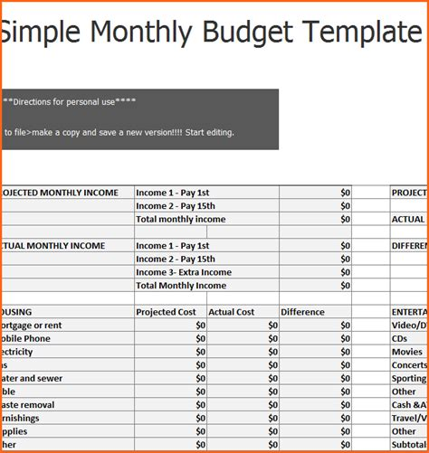 basic household budget template simple budget template www imgkid the image kid