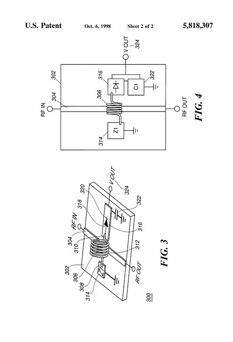 microstrip inductor coupling patent us5818307 directional coupler inductor crossing microstrip transmission line