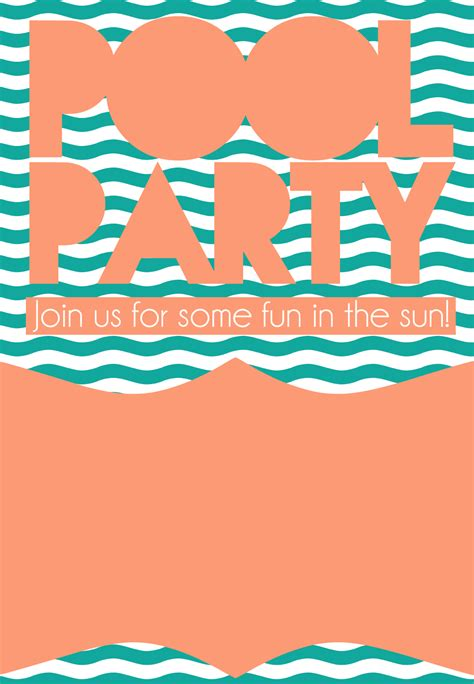 girl or boy printable swimming pool birthday party invitation