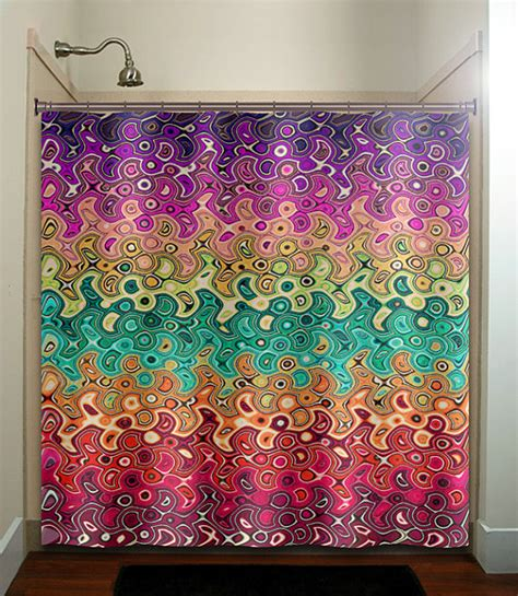 abstract multi color rainbow wave colorful shower curtain