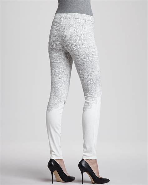 j brand denim printed skinny jeans 8 of this season s best lyst j brand midrise printed skinny jeans in blue
