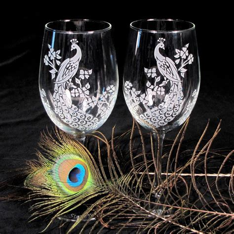 Peacock Wine Glasses, Etched Glass, Peacock Decor, Peacock