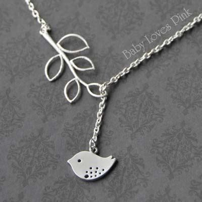 Bird And Tree Necklace sweet bird and tree branch white gold bird necklace