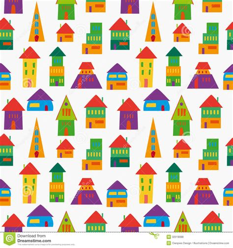 seamless pattern houses cute house pattern stock vector illustration of hand