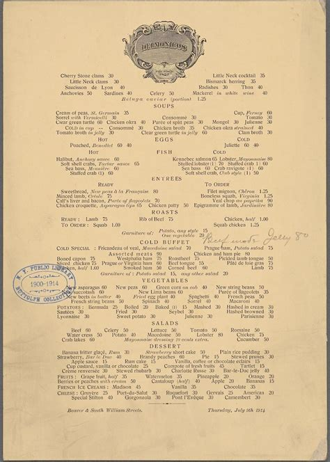 overseas restaurant new year menu 2014 what nyc restaurant menus looked like 100 years ago vs today