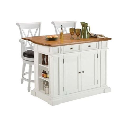 home styles white oak kitchen island and two deluxe bar stools by home styles