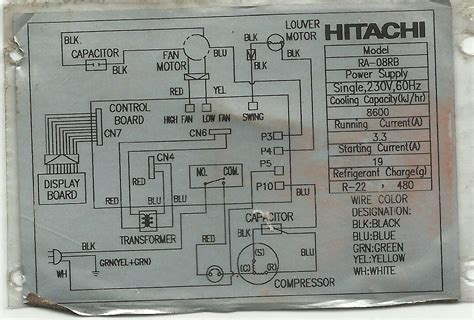 hitachi window for wiring diagram of split type aircon