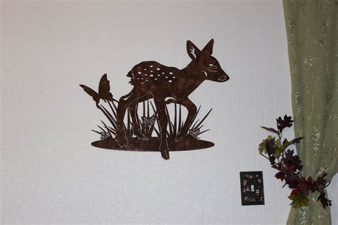 metal art decor for home hand crafted deer fawn with butterfly metal wall art