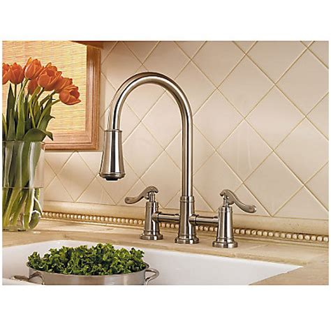 price pfister gt531 ypc ashfield polished chrome two brushed nickel ashfield 2 handle pull down kitchen faucet