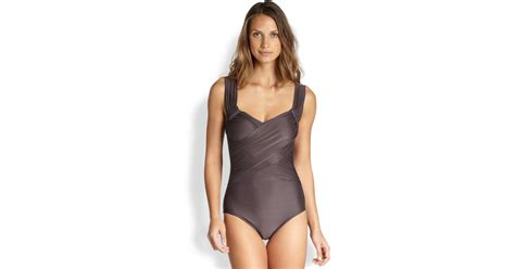 draped swimsuit badgley mischka onepiece draped swimsuit in gray lyst