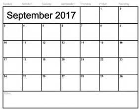 Calendar Notes September 2017 Calendar With Notes Calendar Template