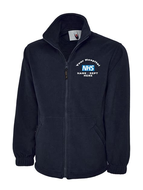 Nhs Jaket Bomber Navy Zipped Fleece Jacket Nhs Clothing And Workwear