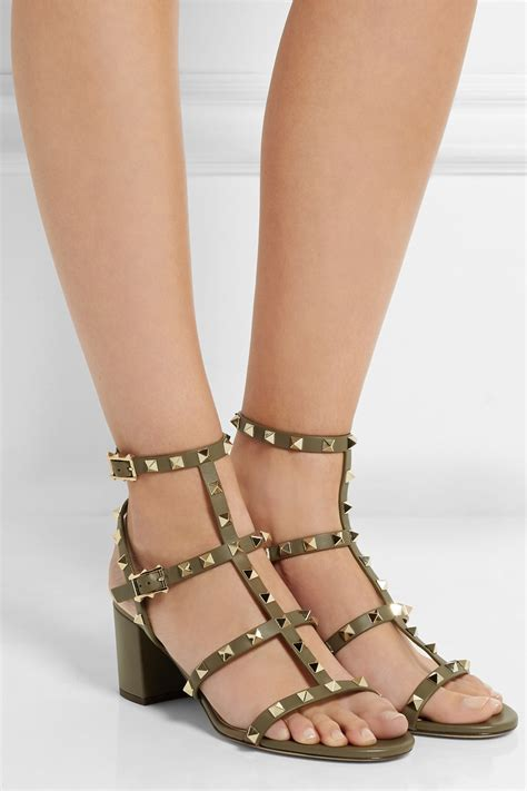 Leather Rockstud Sandals lyst valentino rockstud leather sandals in green