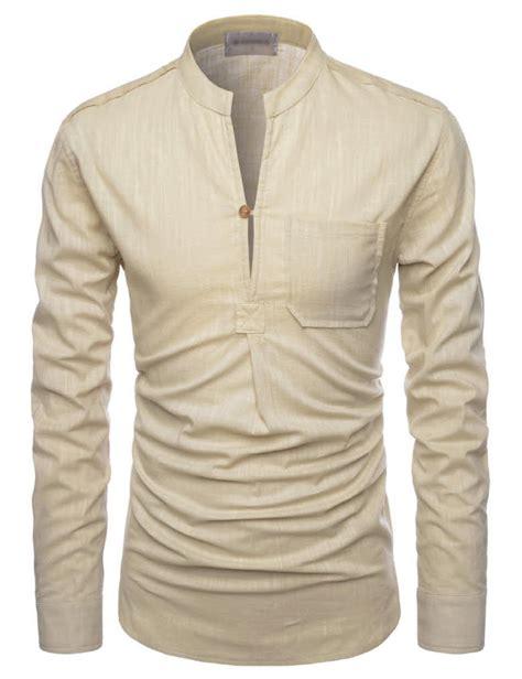 Line Longshirt nkn3 thelees mens premium mandarin henley neck sleeve linen shirts ebay