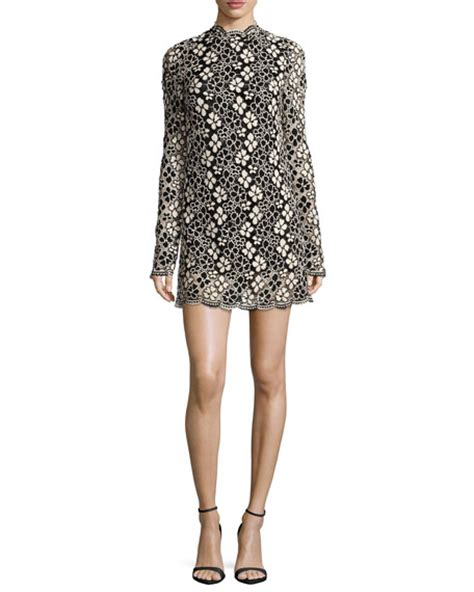 Casava Tunic 2 tracy reese sleeve mock neck lace mini dress black