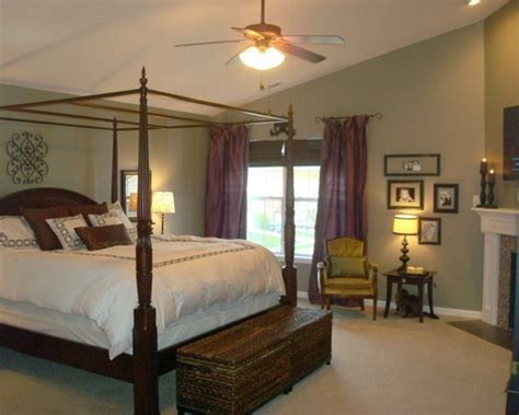 green and brown bedroom walls purple curtains design pictures remodel decor and ideas
