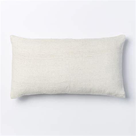 White Lumbar Pillow by Silk Loomed Lumbar Pillow Cover White West Elm