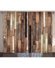 Wooden Drapes Wooden Curtain Old Floor Rustic Style Print 2 Panel Window