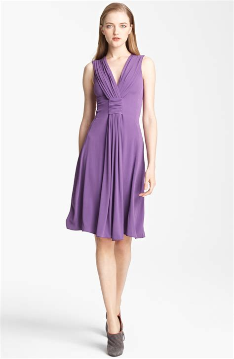 draped dress armani draped jersey dress in purple lyst