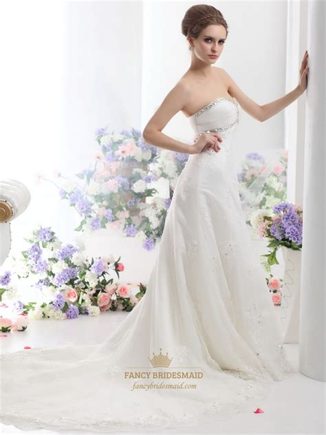 Semi Cathedral Wedding Dress by Ivory Strapless Beaded Tulle Wedding Dresses With Semi