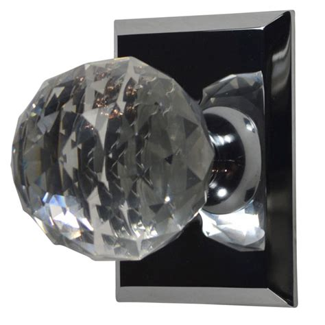 Cut Glass Door Knob Polished Chrome Finish Cut Glass Door Knobs