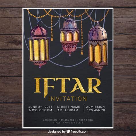 ramadan invitation card template watercolor lantern ramadan invitation vector premium