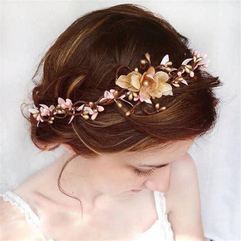 hair accessories for wedding hair wedding hair accessories pink flower hair circlet gold
