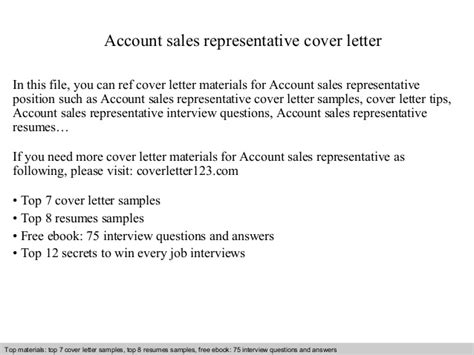 Account Sales Representative Cover Letter account sales representative cover letter