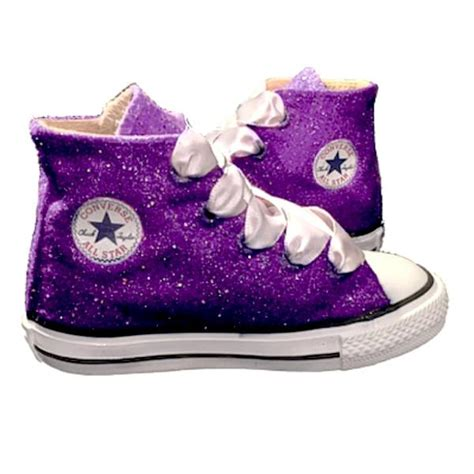 flower shoes purple glitter converse all purple crystals flower