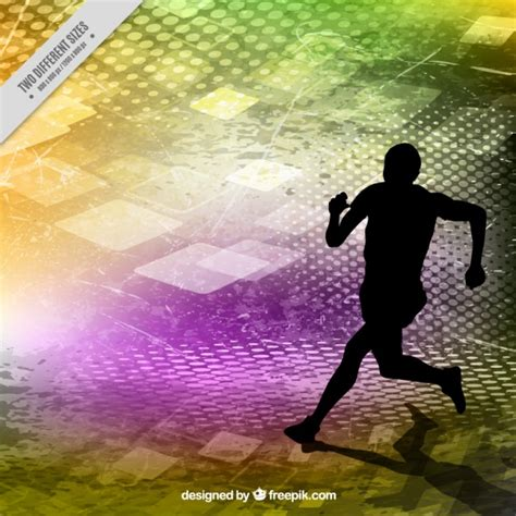 Abstract For Fitness Running 1 runner silhouette on a colors abstract background vector free