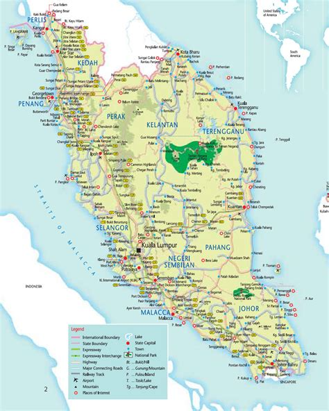 road map of detailed road map of west malaysia west malaysia detailed